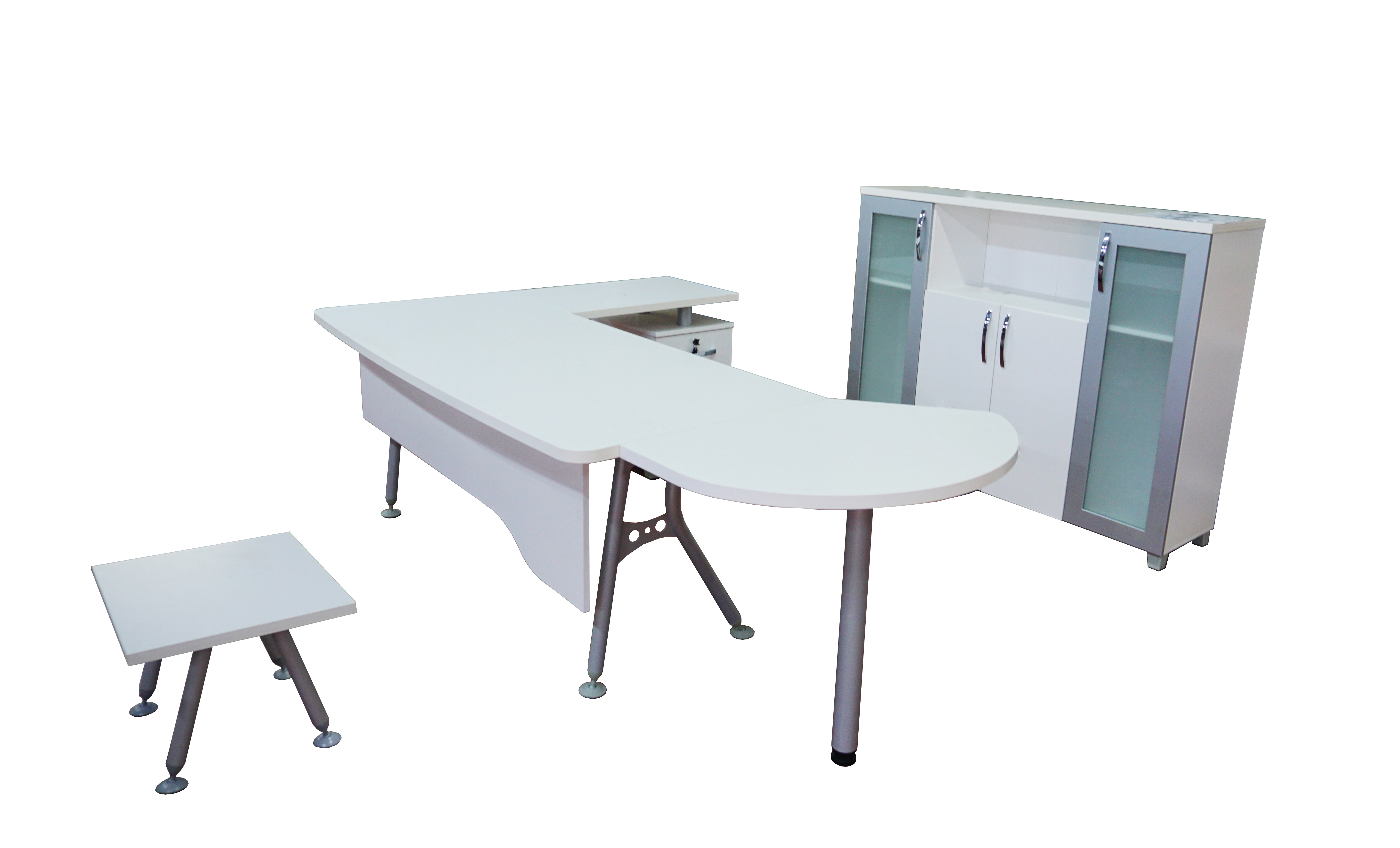 Marvelous Casa Mare Modern Clover 6 Piece L Shaped Desk Home Office Suite Furniture Set 63 71 White Metalic Grey Home Designer Goods Beutiful Home Inspiration Truamahrainfo