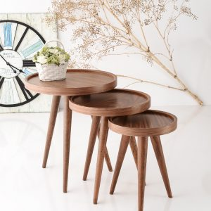Piece Walnut Nesting Table