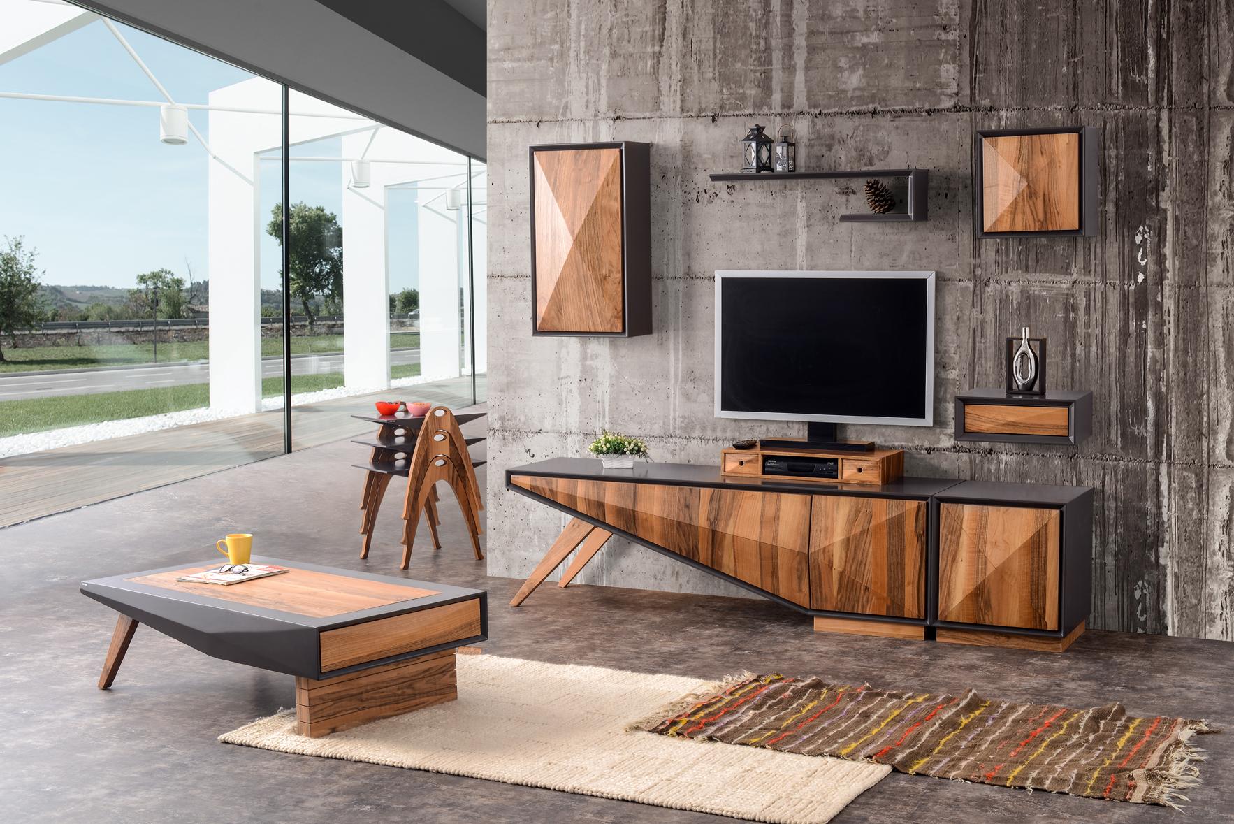 Mare Collection Zeta Walnut Tv Unit Entertainment Set 6 Pieces Home Designer Goods