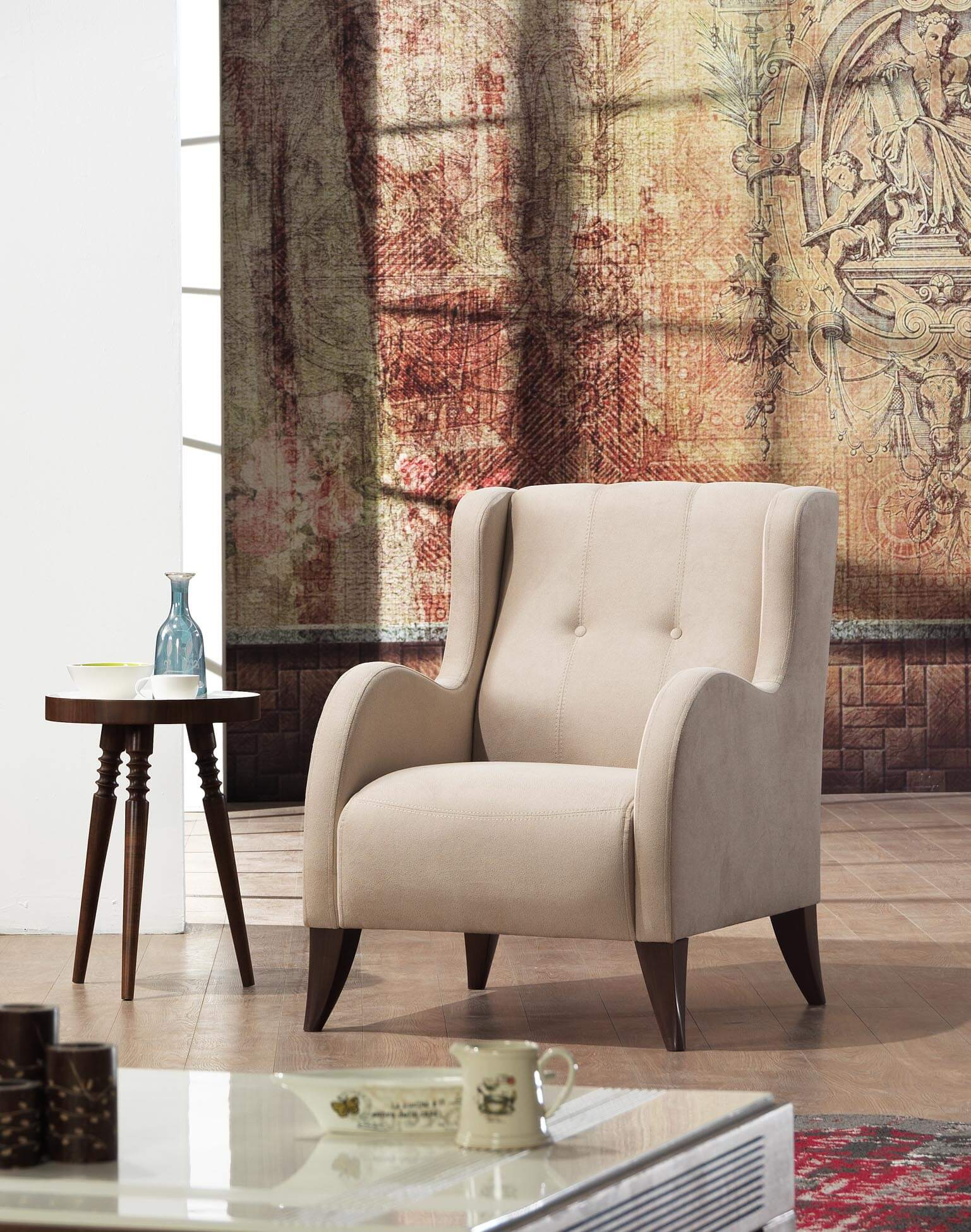 Modern Beige Wing Chair