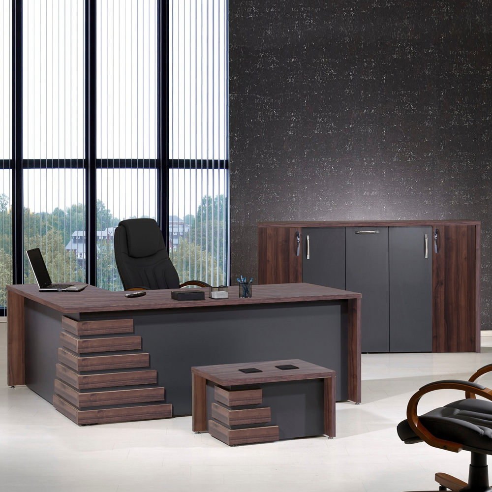 Casa Mare Atlas 3 Piece L Shaped Office Furniture Set Home Office Furniture Desk Executive Desk Light Brown Grey 71 Home Designer Goods