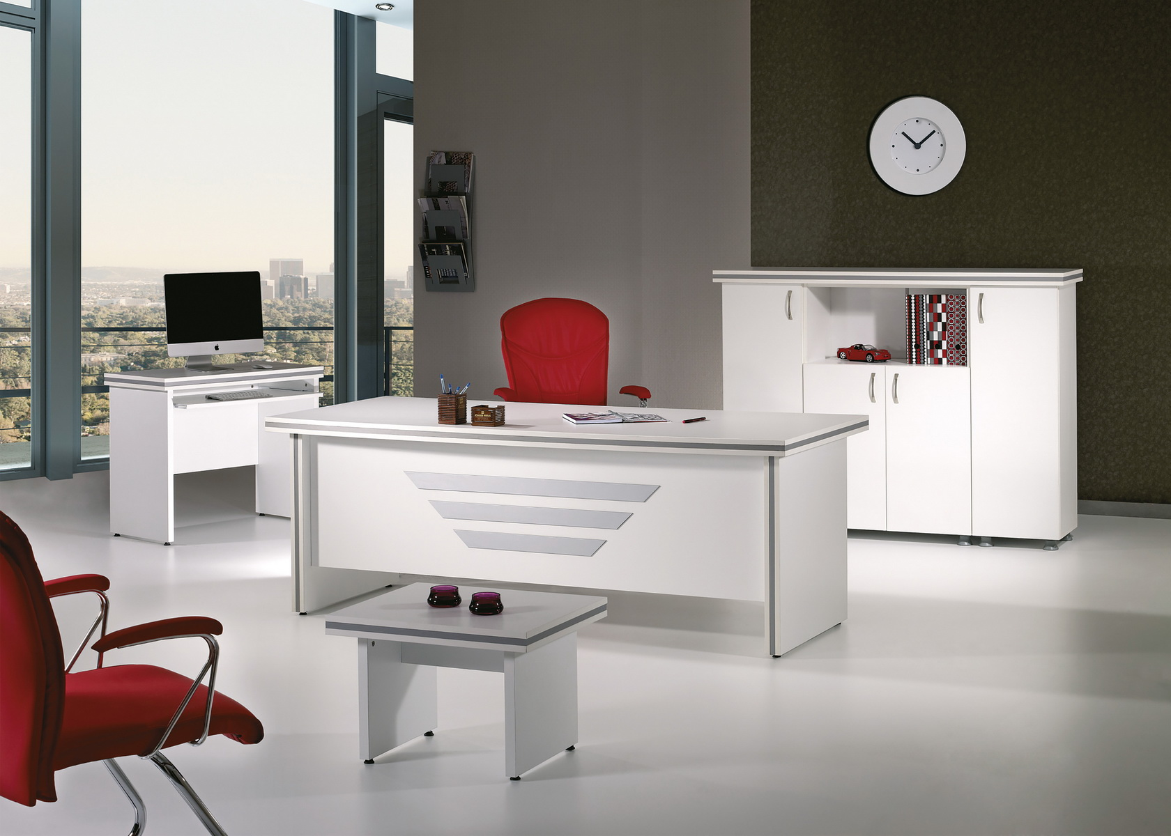 Mare Collection Modern New Star 5 Piece Desk Home Office Suite ...