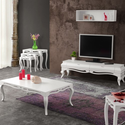 Violin White TV Stand