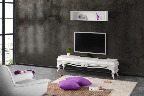 Violin White TV Stand