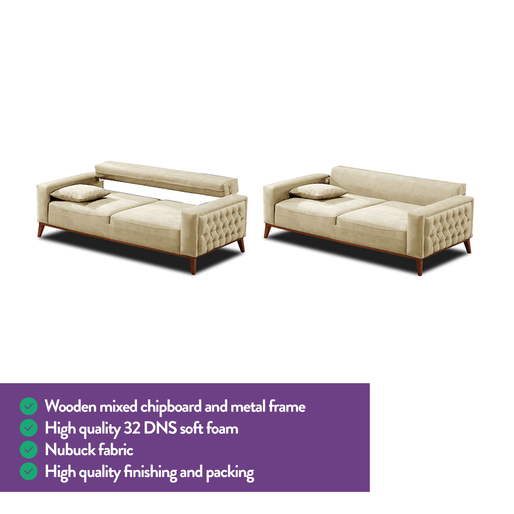 Mare Collection Luna Tufted Arm Modern 2 Seater Loveseat Sofa, Shaker Beige  - Home Designer Goods