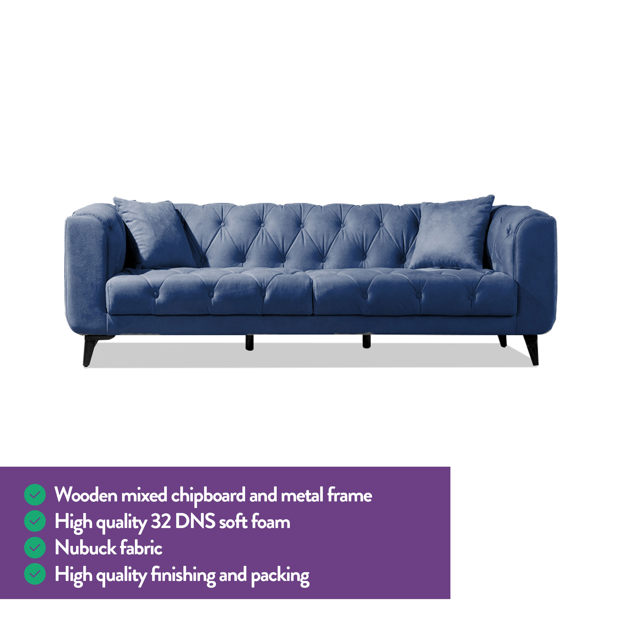 Pleasant Mare Collection Lyra Mid Century Modern Tufted Chesterfield 2 Seater Loveseat Sofa Starry Night Blue Home Designer Goods Squirreltailoven Fun Painted Chair Ideas Images Squirreltailovenorg