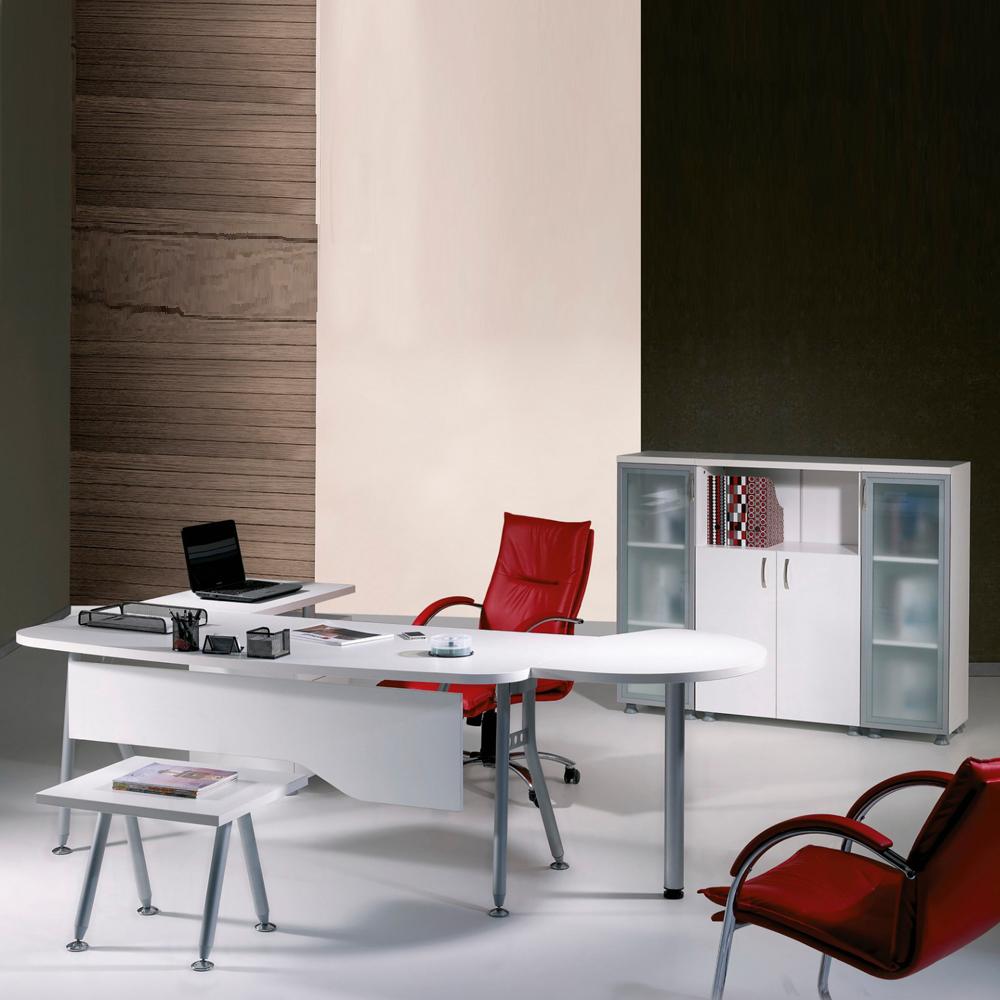Casa Mare Clover 6 Piece L Shaped Office Furniture Set Office Desk Home Office Furniture White Office Furniture White And Metallic Grey 71 Home Designer Goods