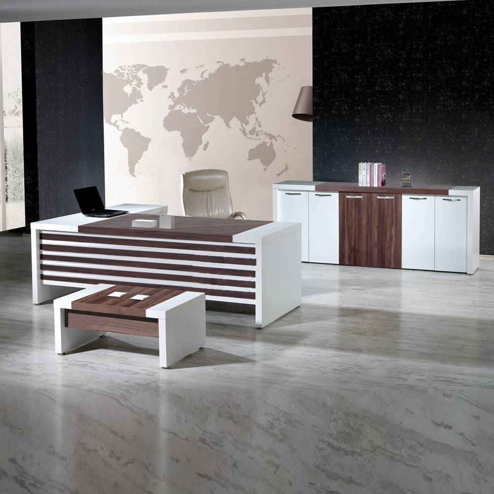 CASA MARE LEON 3 Piece 87 inch L Shaped Office Furniture Set | Office Desk  | Home Office Furniture | Executive Desk | White and Brown