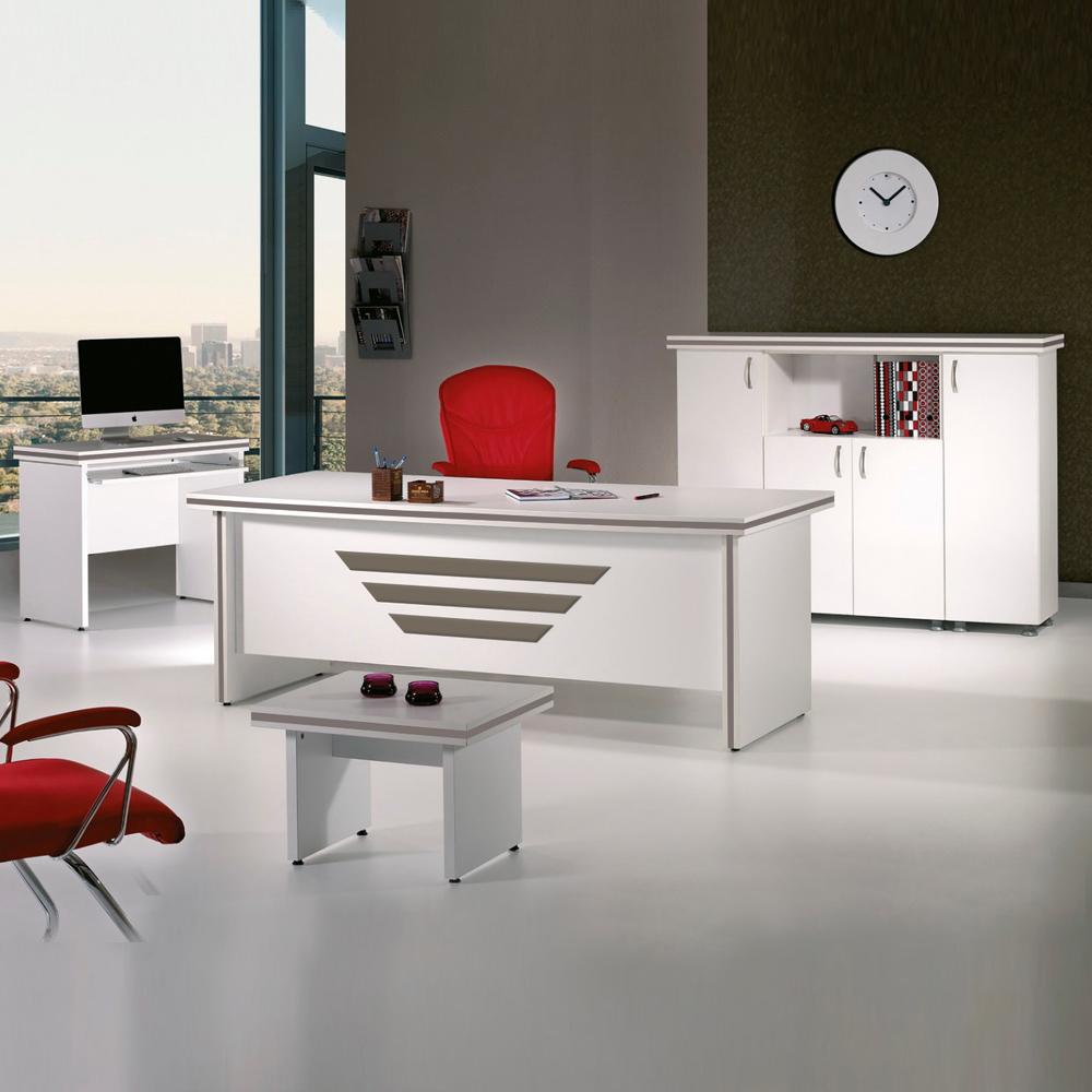 Casa Mare New Star 5 Piece Office Furniture Set Office Desk Home Office Furniture White Office Furniture White And Metallic Grey 63 Home Designer Goods