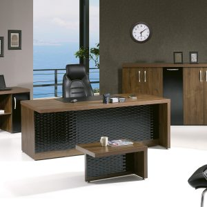 MODERN ARTEMIS 4 PIECE DESK OFFICE SUITE FURNITURE SET 79″ BLACK & BROWN