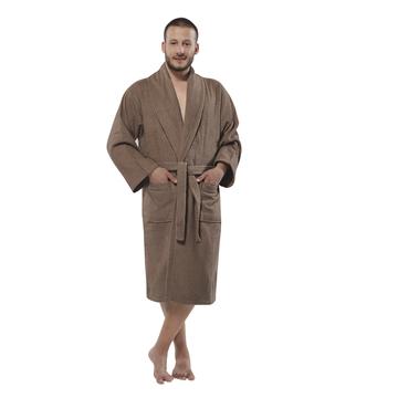 469d8e591d 100% Turkish Cotton Terry Kimono Men s Bathrobe by Chesme Brown