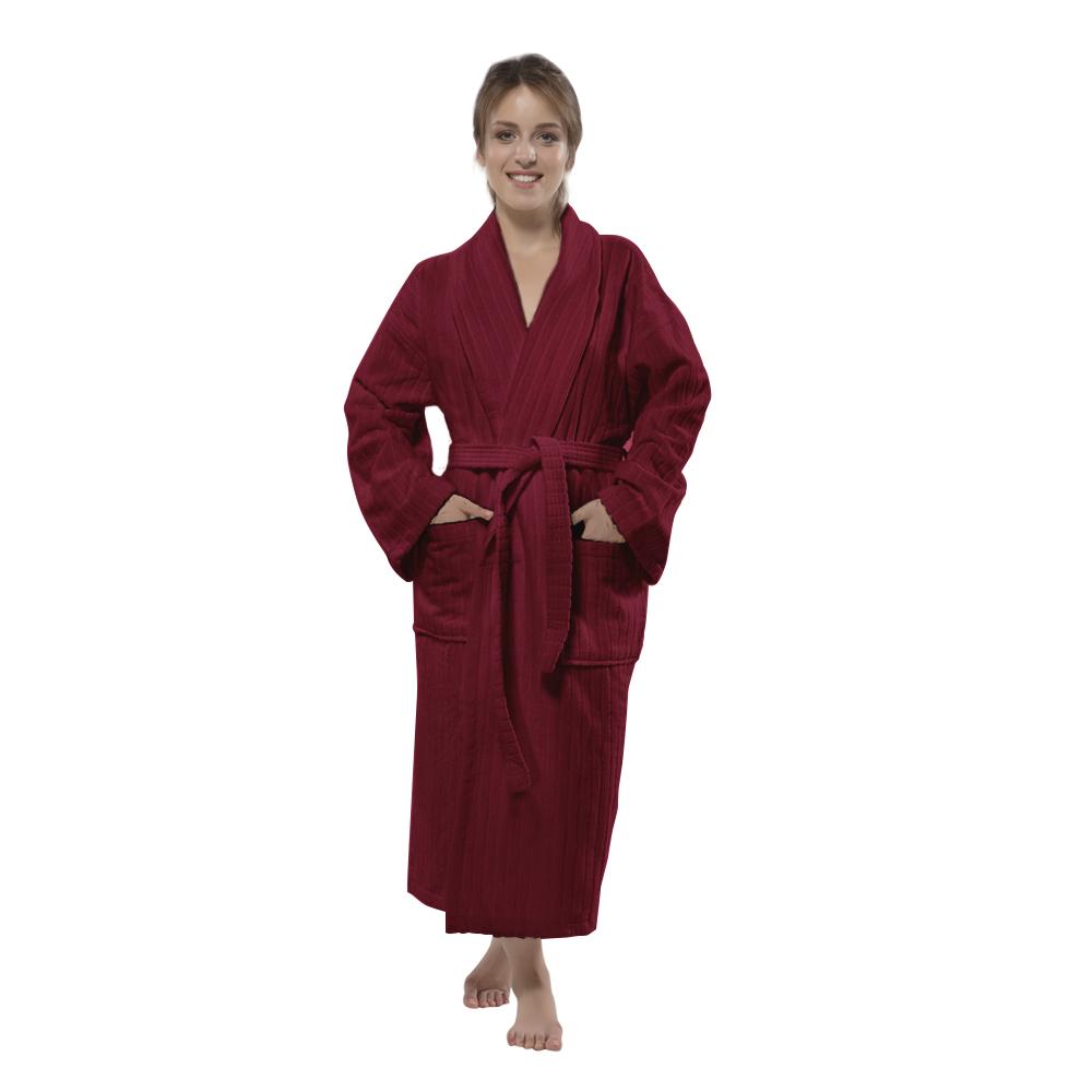 100% Turkish Cotton Frette Striped Velour Shawlcollar Women\'s ...