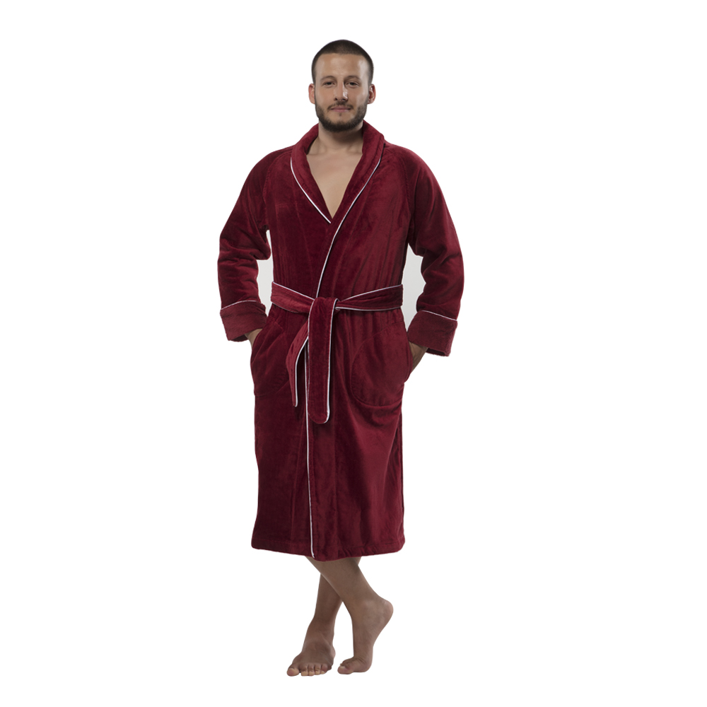 c61b919dc1 Shop. Home   Products   outofstock   100% Turkish Cotton Louxor Velour  Shawlcollar Men s Bathrobe by Chesme Burgundy – S