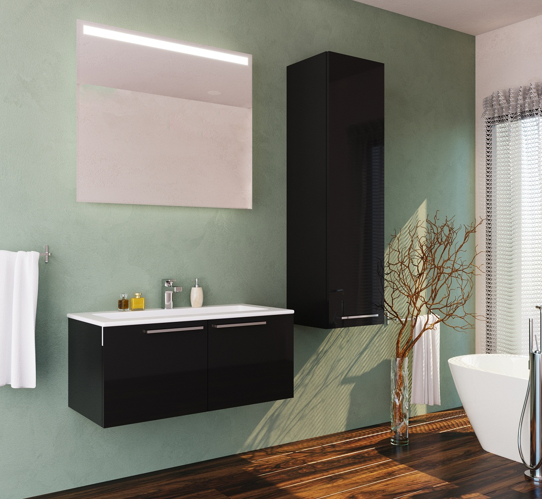 Glossy Black Single Sink Modern Wall Mount Bathroom Vanity Set