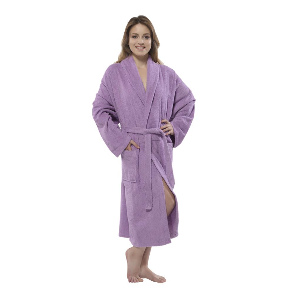 dbe9f83de8 100% Turkish Cotton Terry Shawlcollar Women s Bathrobe by Chesme Violet