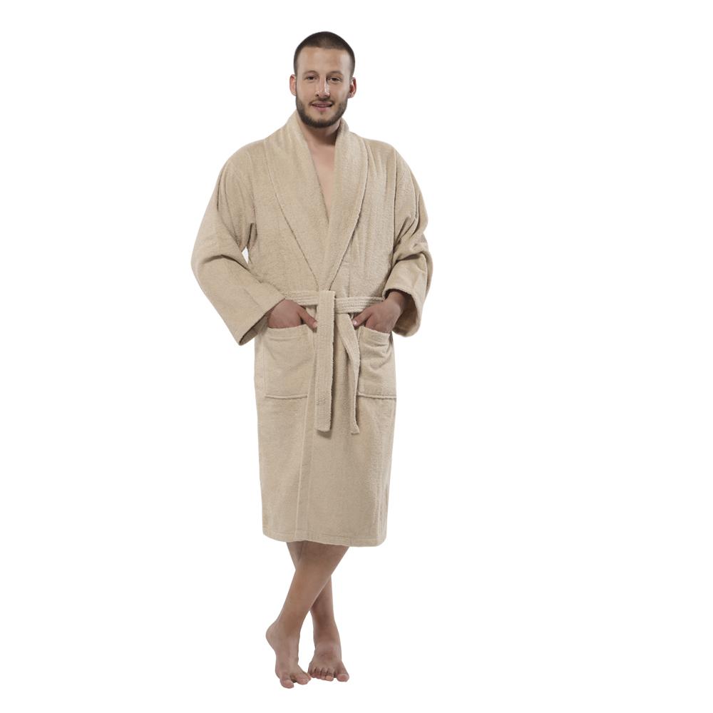 fa6b758c95 100% Turkish Cotton Terry Shawlcollar Men s Bathrobe by Chesme Beige