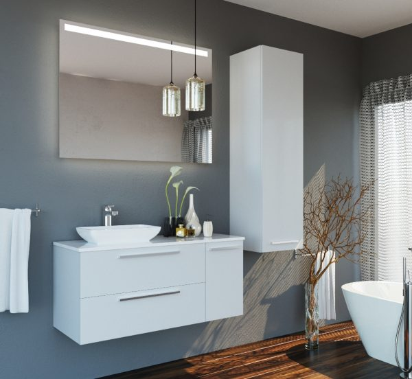 Glossy White Modern Wall Mount Bathroom Vanity with Single Ceramic Sink and Mirror1