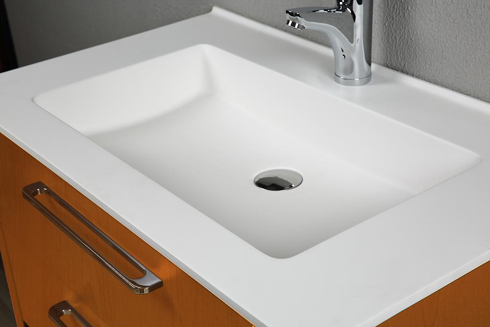 Casa Mare Joly 40 Inch Veneer Light Oak Single Sink Country Design Free Standing Bathroom Vanity Set With Mirror Home Designer Goods