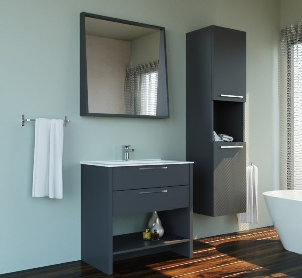 Lacquer Matte Grey Single Sink Country Design Free Standing Bathroom Vanity Set with Mirror