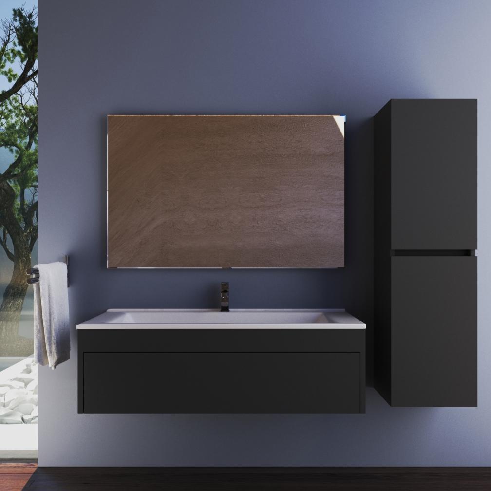 Casa Mare Calton 26 Inch Eco Grey Single Ceramic Sink Wall Mount Bathroom Vanity With Mirror Home Designer Goods