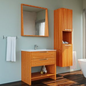 Veneer Light Oak Single Sink Country Design Free Standing Bathroom Vanity Set With Mirror