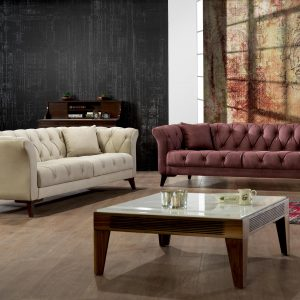 Zeence Chess Chesterfield Dry Rose Loveseat