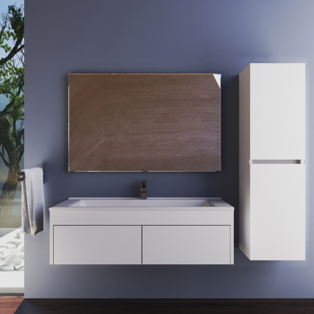 Mare Collection Giona 26 Inch Eco White Single Sink Wall Mount Bathroom Vanity Set With Mirror