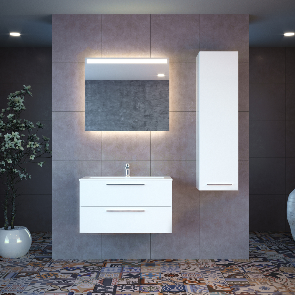 Casa Mare Elke 48 Inch Glossy White Single Sink Modern Wall Mount Bathroom Vanity Set With Mirror And Sink Combo Home Designer Goods