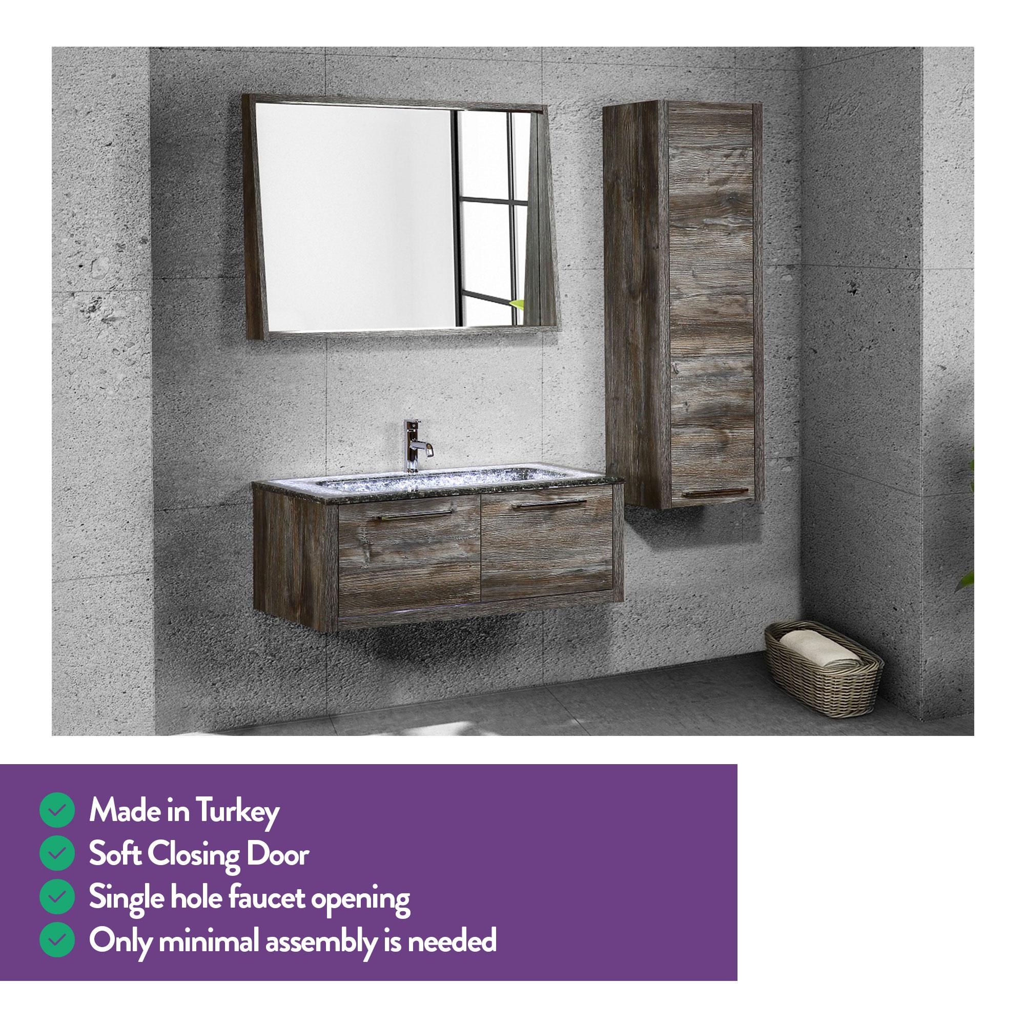 Casa Mare Matto 32 Jackson Pine Grey Oak Wood Stonyx Design Bathroom Vanity With Dolamite Crystalline Stone Single Sink And Wood Frame Mirror Home Designer Goods