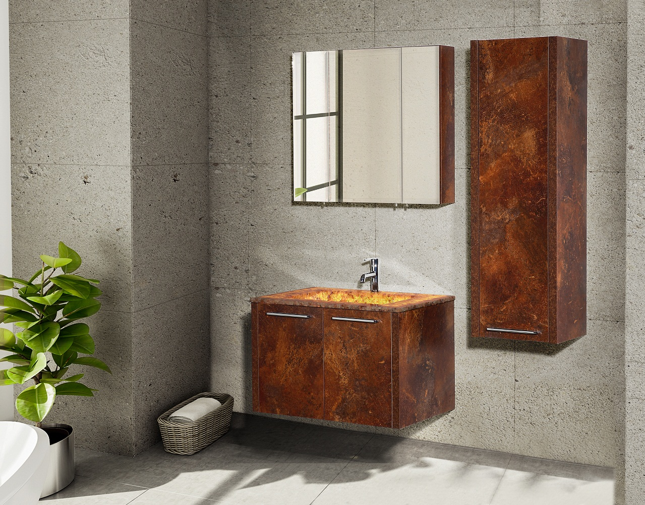 Casa Mare Pingo 32 Red Ceramic Cherry Oak Stonyx Design Bathroom Vanity With Dolamite Stone Single Sink And Wood Frame Mirror Home Designer Goods