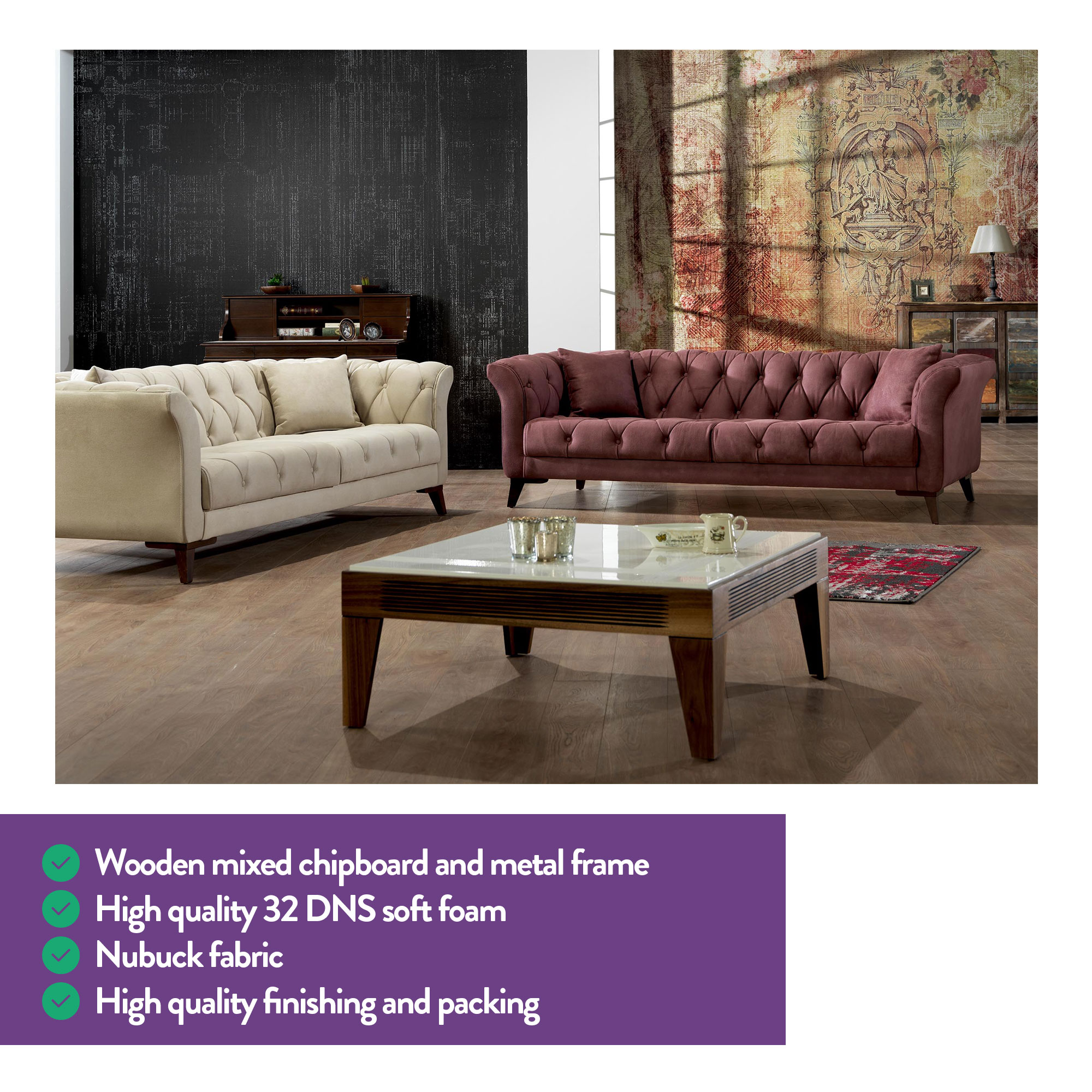 Fine Mare Collection Vega Mid Century Modern Tufted Chesterfield 2 Seater Loveseat Sofa Flamenco Home Designer Goods Pabps2019 Chair Design Images Pabps2019Com