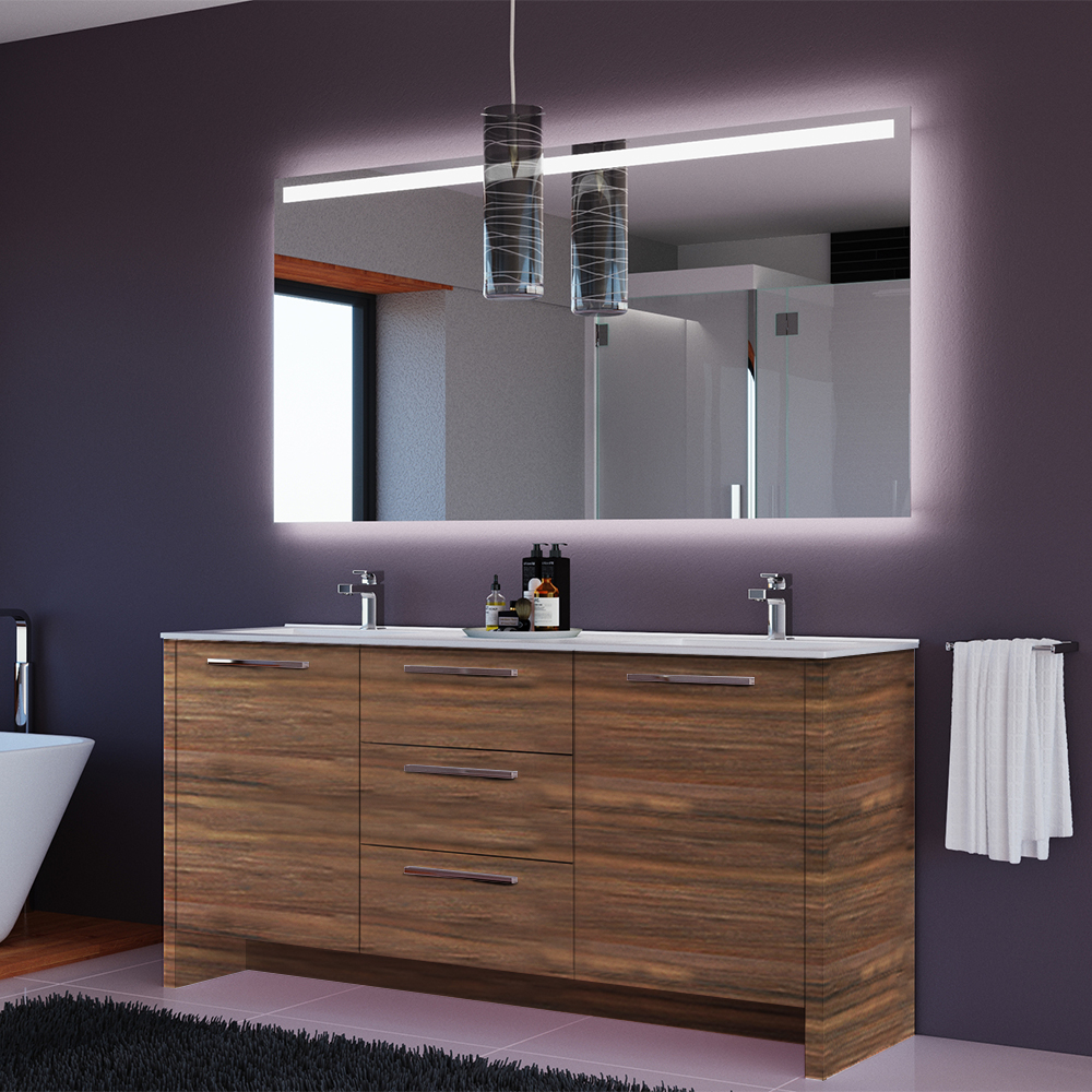 Mare Collection Nona Inch Matte Walnut Double Sink Modern Free - Modern free standing bathroom vanities