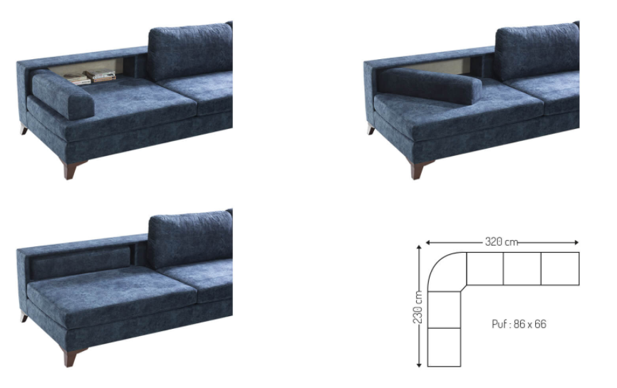 Mare Collection Halley L shaped Sectional Sofa - Home Designer Goods
