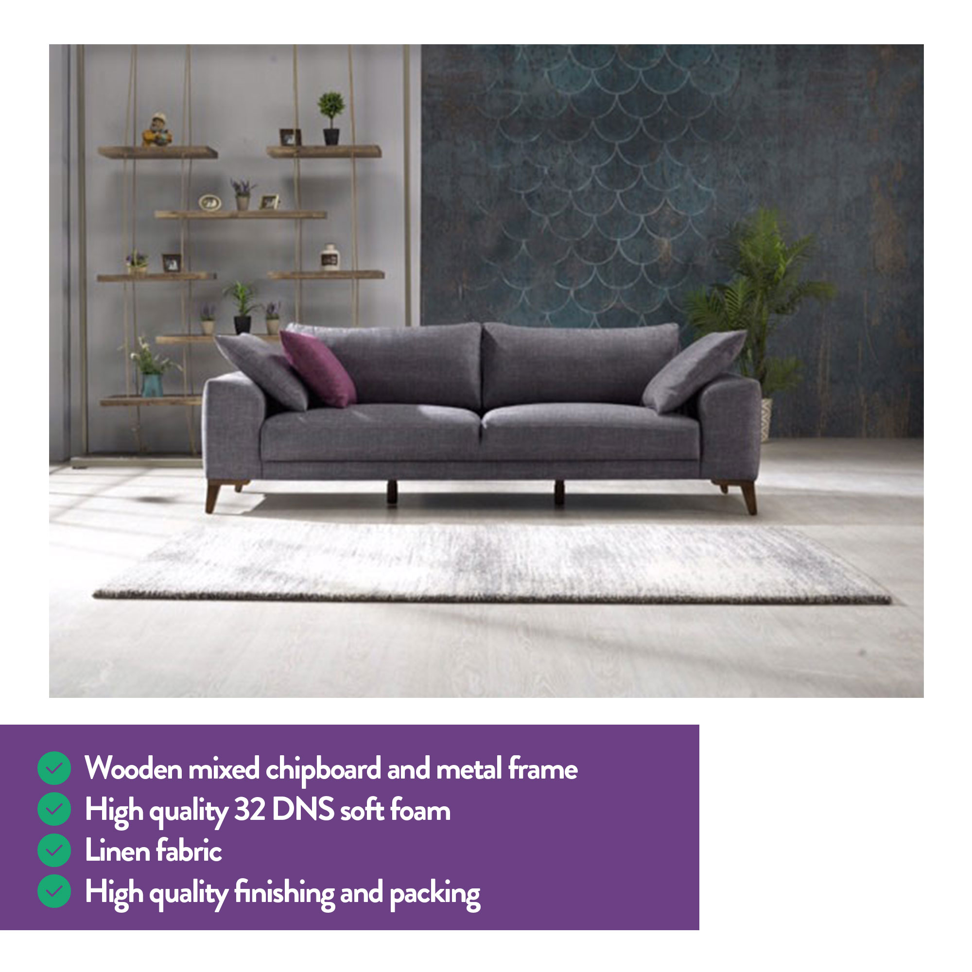 Mare Collection Halley Modern 3 Seater Sofa - Home Designer Goods